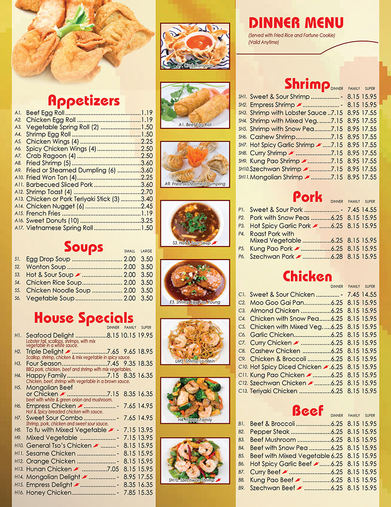 Happy China Chinese Restaurant Menu